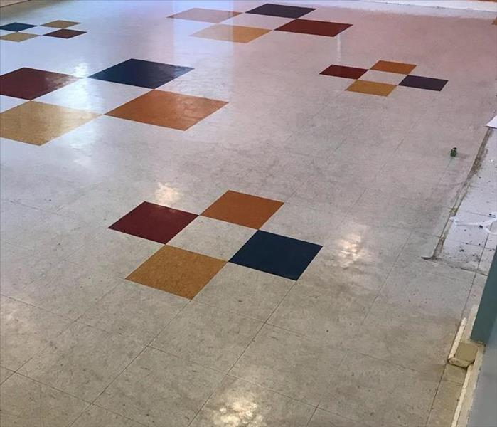 Dingy white commercial tile flooring